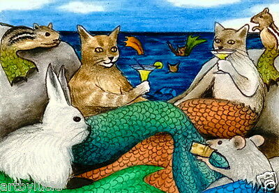 ACEO LE art print Cat Mermaid 10 from original painting by L.Dumas
