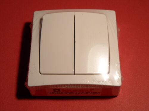 Blanc 097602 Double interrupteur ou va-et-vient Appareillage Saillie