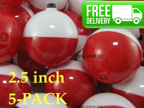 5-PACK 2.5 inch Fishing Floats Corks Large ROUND RED /& WHITE BOBBERS
