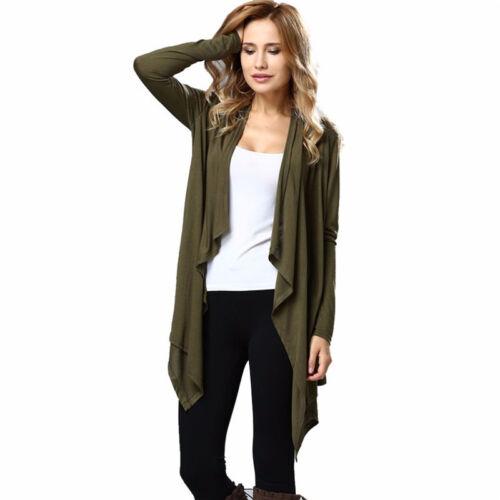Fall Cardigan Long Sleeve Open Front Sweater Knitwear Irregular Hem Coat N7