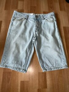 Da-Uomo-Denim-Blu-Chiaro-top-man-al-ginocchio-Jeans-Shorts-Vita-32-Chiusura-a-Bottone
