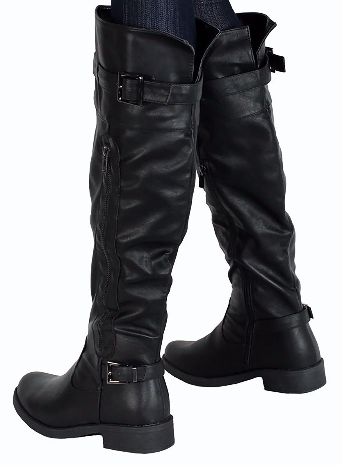 Women Over the Knee Buckles Low Flat Heel Riding Dress Boots Strap Faux Leather