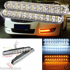 Coppia luci auto 30 led smd 5050 3528 fanale daytime for Luci diurne a led