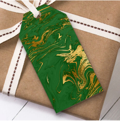 Present Favor Labels Green Gold Marble Christmas Gift Tags