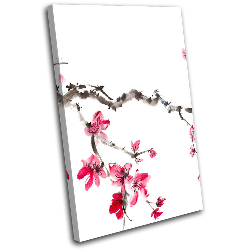 Cherry Blossom Tree rose Painting Floral SINGLE TOILE murale ART Photo Print