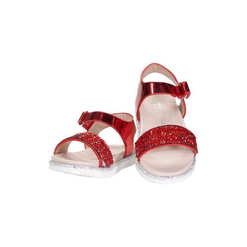 Girl/'s Crystal Embellished flat sandals RED /& WHITE