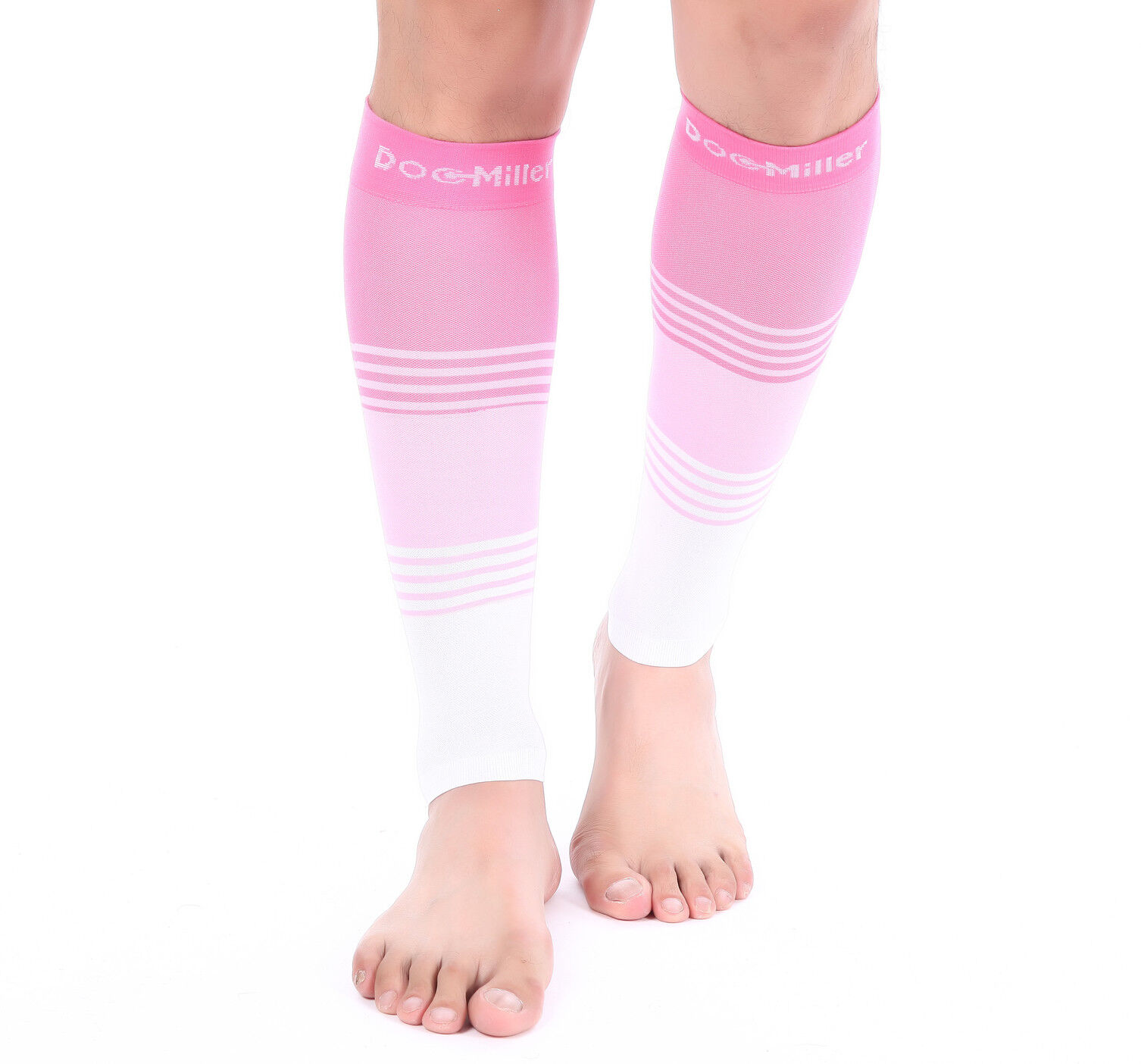 2547fb3a792 Doc Miller Calf Compression Sleeve 1 Pair 20-30 mmHg Varicose Veins  PINK PINK WHITE