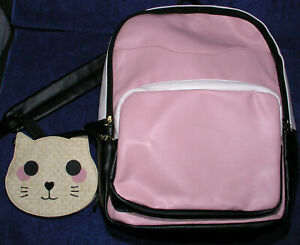 Luv-Betsey-Johnson-Backpack-Med-Handbag-Purse-w-Cat-Coin-Purse-Faux-Leather-Pink