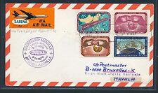 96750) Belgien SABENA FF Brüssel - Manila 8.11.70, Brief ab UNO New York Label