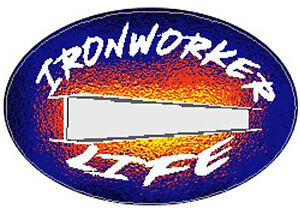 ironworker with flames hard hat sticker CIW-9