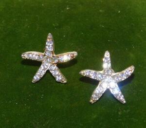Nautical-Sea-Star-Starfish-Shell-design-Rhinestone-Stud-Pierced-Earrings-7a-66