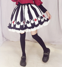 Anime Cute Kawaii Gothic Sweet Lolita Monochrome Card Suit Bunny Striped Skirt