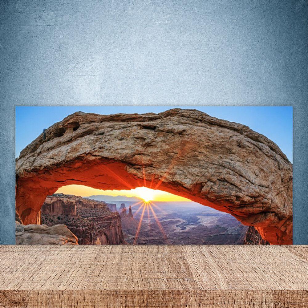 Crédence de cuisine en verre Panneau Paroi 100x50 Paysage Rocher Soleil