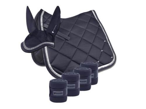 Bandagen nachtblau Glitzer Luxus-Set COMPETITION Schabracke Strass Ohren