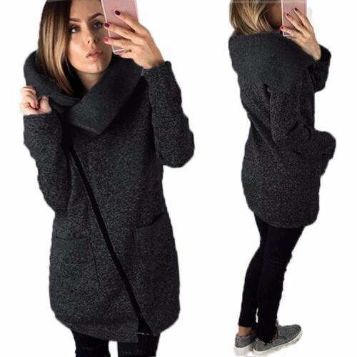 Women Winter Casual Hoodies Jacket Coat Long Zipper Sweatshirt Ladies Outwear US