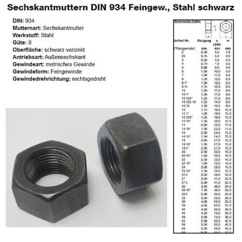 Feingewinde Sechskantmutter DIN 934 Stahl schwarz verzinkt +