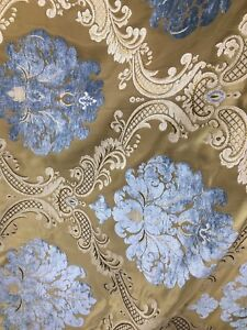 BLUE-GOLD-DAMASK-CHENILLE-UPHOLSTERY-BROCADE-FABRIC-54-in-Sold-BTY