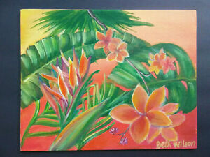 Original-Acrylic-Painting-8-x-10-Canvas-Panel-Tropical-Island-Flowers-Art
