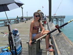 Jigging rod rockers saltwater pier fishing device for Pier fishing rod holder
