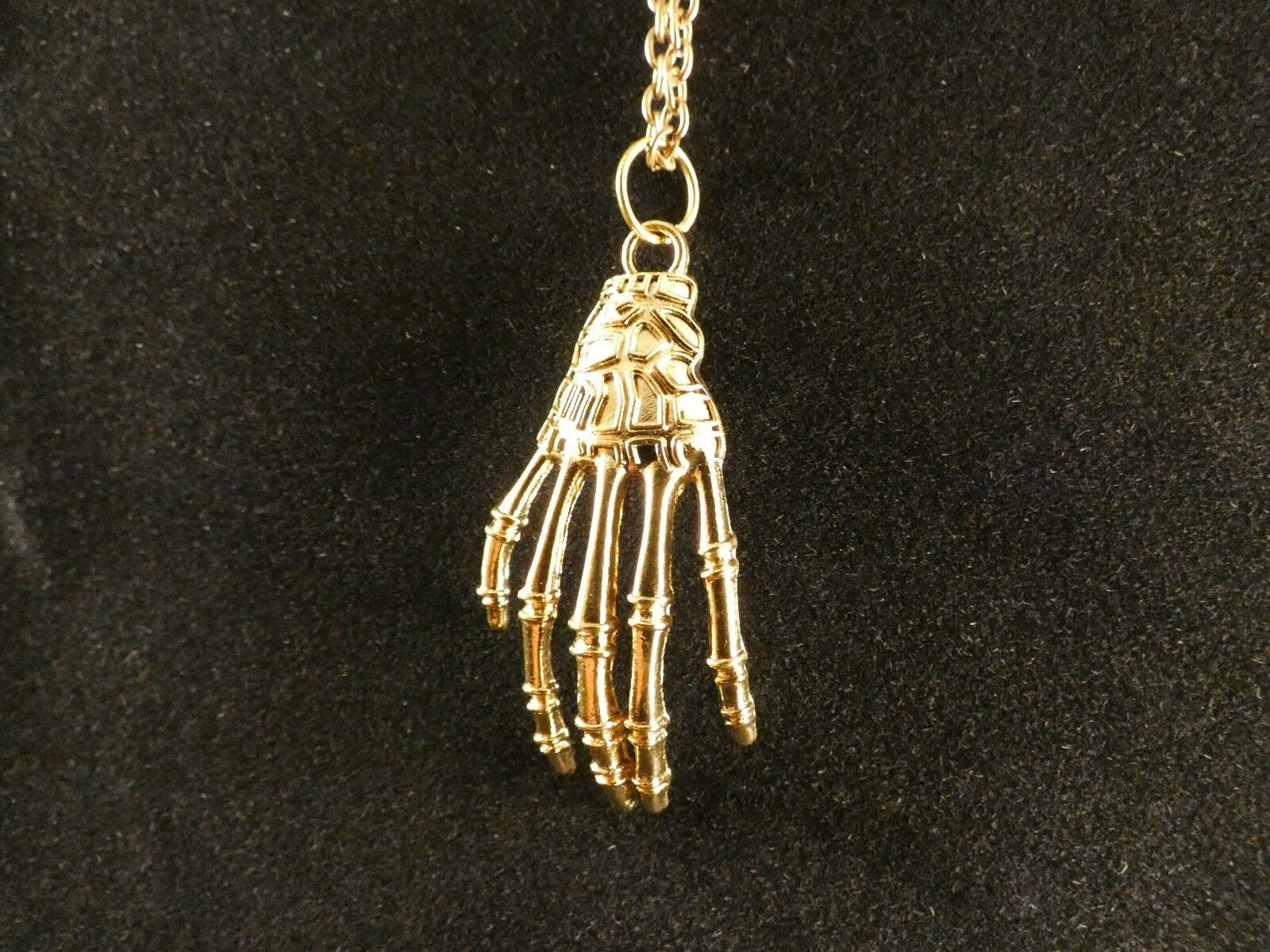 Hand Halskette 24 Karat Vergoldet Skelett Knochen Gothic Punk Snap Chunk