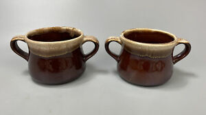 Set of 2 McCoy Pottery Brown Drip Glaze Double Handled Chili Soup Bowls