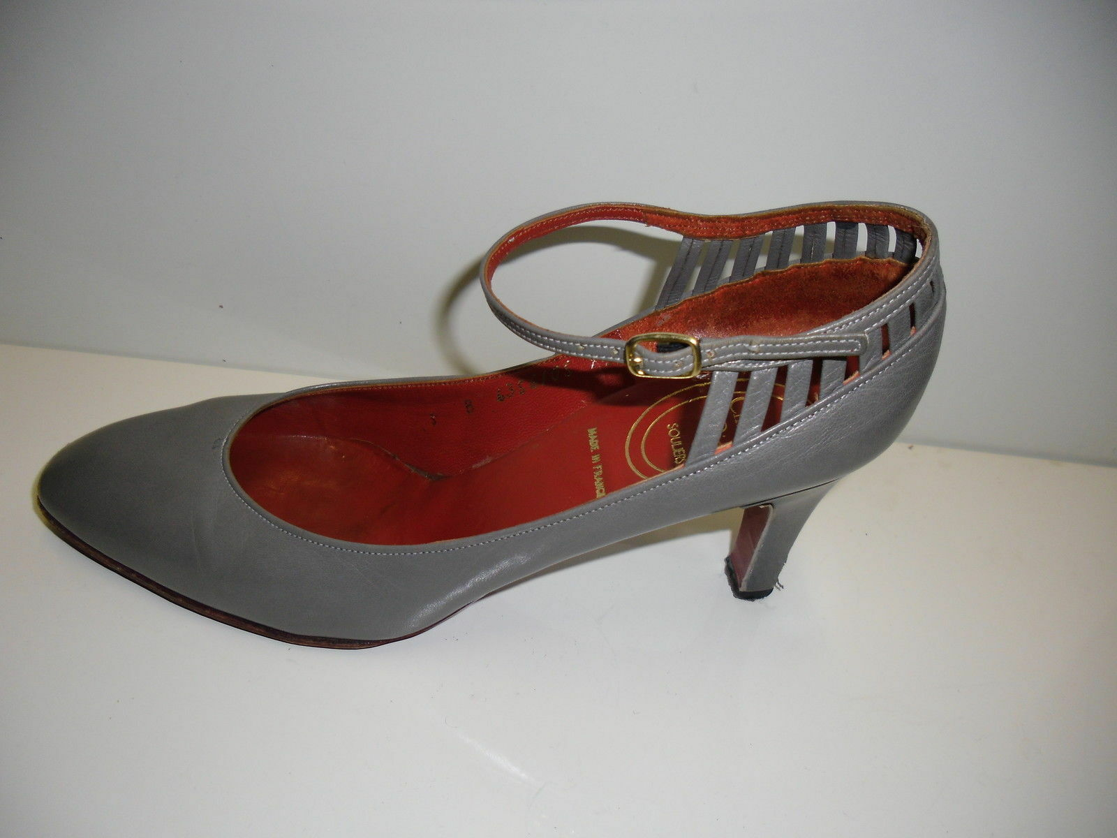 Christian Dior Vintage Schuhe Pumps Leder Grau Farbe  Gr. 35,5 Rarität