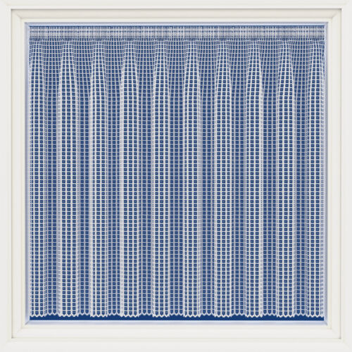 BARCELONA HEAVY WHITE THICK MODERN SQUARES LACE NET CURTAIN SOLD BY THE METRE