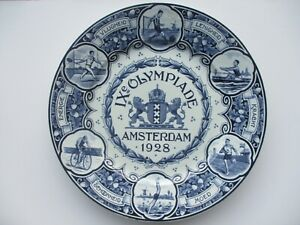 1928-Amsterdam-Olympic-Delft-plate-IX-Olympiade-Blue-and-White