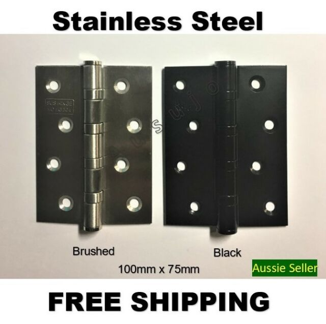 "Stainless Steel 100mm X 75mm / 4"" X 3"" Butt Door Hinge Ball Bearing Black Hinges"