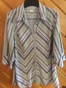 25c0748022c Dress Barn Women s 1X 3 4 Sleeve Button Down Striped Poly Shirt ...