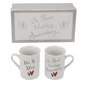 Anniversaire Cadeau-Mug//Tasse Set-Mr /& Mrs sur votre mariage anniversaire