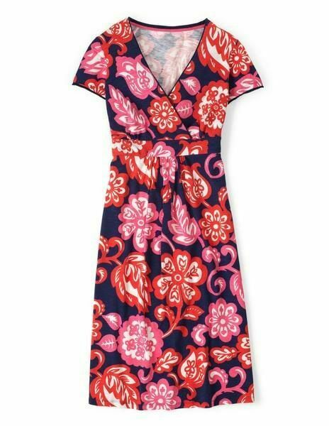 New  Boden Soft Stretch Cotton Blend  Floral Casual WH760 Jersey Dress US 4 L