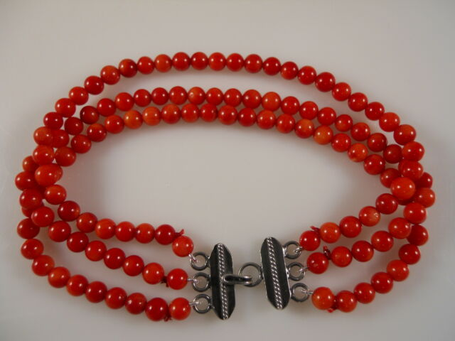 Sterling Silver, Three Strands Smooth Round Coral Beads Bracelet