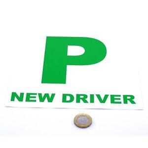 Nouveau-Pilote-P-plaque-stickers-2x-De-Securite-De-Voiture-LEARNER-juste-passe-Vinyle-juridique