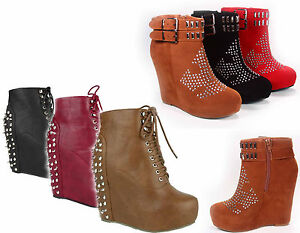 NEW-Women-039-s-Zipper-Studded-Spike-Platform-Wedge-Bootie-Shoes-Black-Tan-Red-5-10