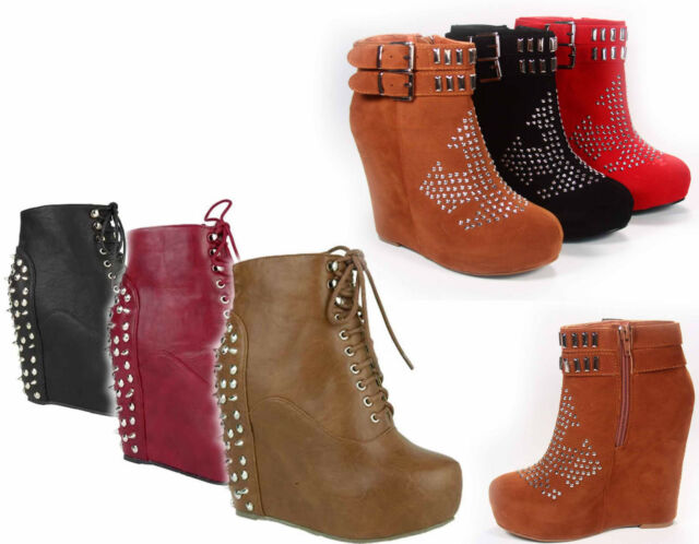 NEW Women's Zipper Studded Spike Platform Wedge Bootie Shoes Black Tan Red 5 -10