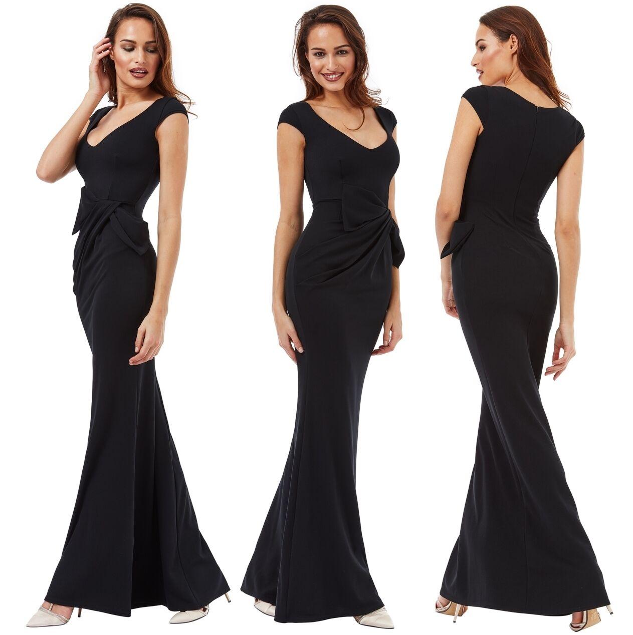 Goddiva Long schwarz Drape Bow Sleeveless Evening Prom Party Maxi Dress Bridesmaid