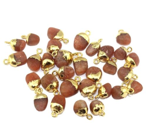Matte Finish Real Raw Sun Stone Gold Plated Necklace Bracelets Connector Jewelry