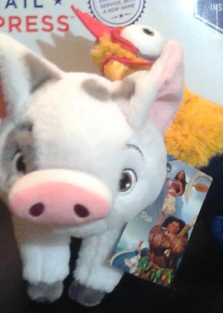 """Disney Store authentic Pua Moana Pet Pig 9.5""""+Hei Hei heihei 12"""" rooster plush"""