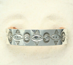 Native-American-Silver-Copper-Cuff-Bracelet-by-Ben-Yellowhorse-Navajo