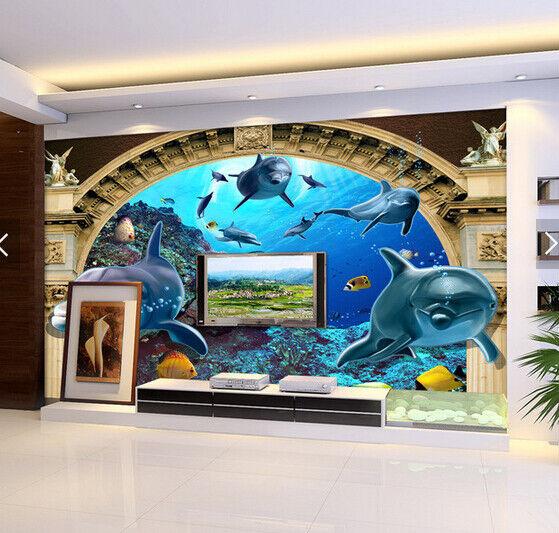 3D Dolphin Arch 421 Wallpaper Murals Wall Print Wallpaper Mural AJ WALL AU Kyra