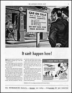 1940 Texas Company Petroleum Gas Station nothing free vintage art print ad LA12