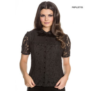 Hell-Bunny-Spin-Doctor-Vampire-Gothic-Shirt-Top-ROWENA-Lace-Blouse-All-Sizes