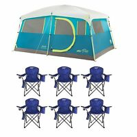 Coleman Tenaya Lake 8 Person Instant Cabin WeatherTec Camping Tent with 6 Chairs