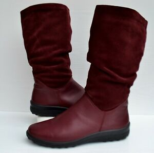 """HOTTER """"MYSTERY"""" RUCHED MULBERRY LEATHER CUSHIONED CALF LENGTH BOOTS UK 8 EXF"""