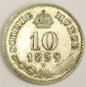 1859V Austria 10 Kreuzer silver coin Strike Error partial legend missing EF40