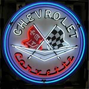 "Chevrolet Corvette Flags Logo Chevy Metal Tin Sign 24/"" Vintage Garage Dealer New"