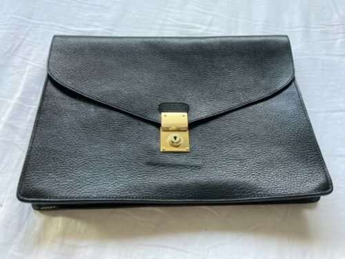 Lotuff Leather Lock-and-Key Document Case Black