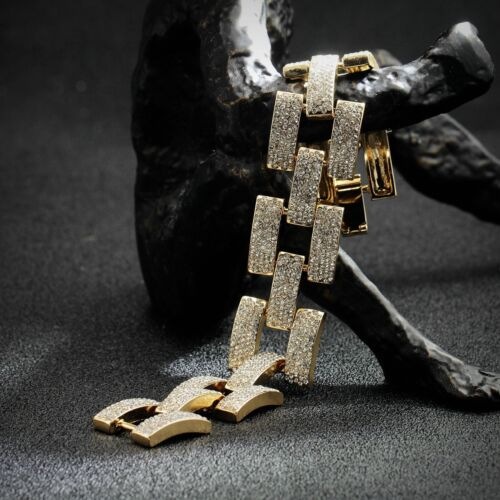 Bracelet Doré Art Deco Large Chaine Maille Pavé Cristal Plat Mariage Retro CT1