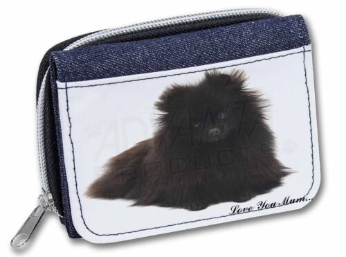 Pomeranian Dog /'Love You Mum/' Girls//Ladies Denim Purse Wallet Chri AD-PO90lymJW